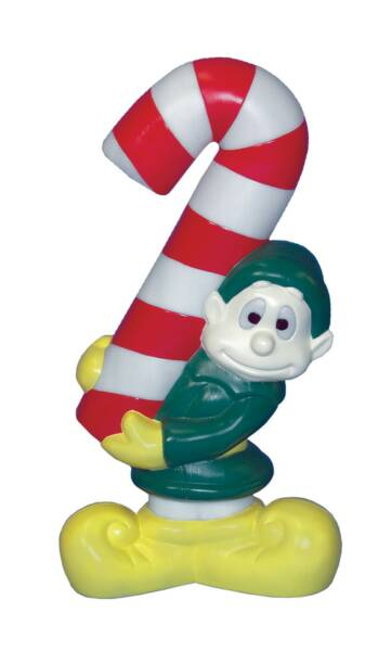Whimsy elf w candy cane general foam plastics corp for Outdoor christmas figures