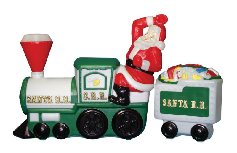 Plastic Light Up Santa On Train And Tender Car By General